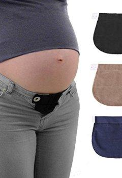 Livres Couvertures de Healifty Extension de Taille de Pantalon pour Enceintes Grossesses 3 Pièces (Noir Marine et Kaki)