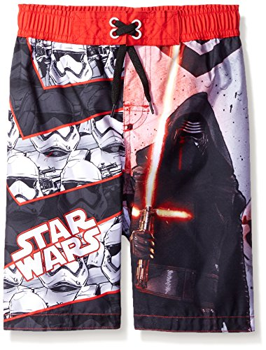 Disney Boys' Star Wars Episode 7 Swim Trunk, Red/Grey, 6/7