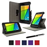 rooCASE Google Nexus 7 FHD 2nd Gen Tablet Dual-View Folio Case Cover - Black (with Pen Stylus) Nexus 7 2 2013 Model