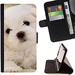 All Phone Most Case / Special Offer Smart Phone Leather Wallet Case Protective Case Cover for APPLE IPHONE 7 PLUS Apple iPhone 7Plus // Maltese Dog Puppy White Soft