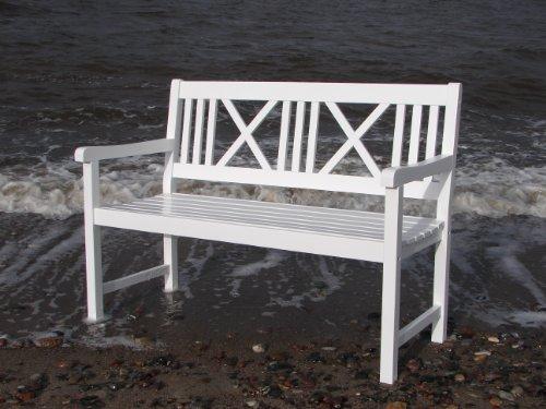 2 - Sitzer Gartenbank weiss aus tropischem Holz