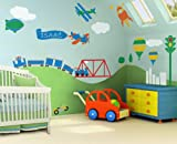 Trains, Airplanes, Cars Room - Wall Stencils for Boys Room Transportation Theme Wall Mural