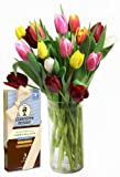 Rainbow Tulip Bouquet (20 Stems) and Scharffen Berger Chocolate - With Vase