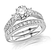 1.48 Carat GIA Certified Round Cut Three Stone Vintage With Milgrain & Filigree Bridal Set with Wedding Band & Diamond Engagement Ring (F Color SI1 Clarity)