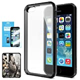 SPIGEN iPhone 5S Case Bumper **NEW Release** [Ultra Hybrid] [Black] FREE Screen Protector + Slim Fit Shock Absorption Protective Bumper with CLEAR Back Panel for iPhone 5S / 5 - ECO-Friendly Packaging - AT&T, Verizon, Sprint, T-Mobile, International - Black