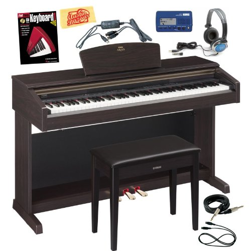 Yamaha Arius YDP-181 Digital Piano Bundle with Bench, USB-MIDI Interface, Metronome, Essential Cables Pack, Headphones, Instructional Book, and Polishing Cloth - Dark Rosewood