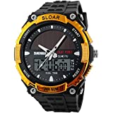 Men Sports Solar Power 50M Waterproof Outdoor LCD Movement Military Watch Gold