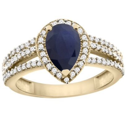 14K-Yellow-Gold-Natural-Blue-Sapphire-Ring-9x7-Pear-Halo-Diamond-sizes-5-10
