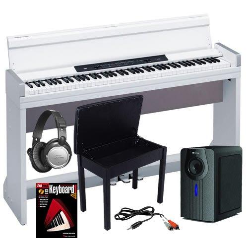 Korg LP-350 White Digital Piano HOME BUNDLE+ w/ Subwoofer & Bench