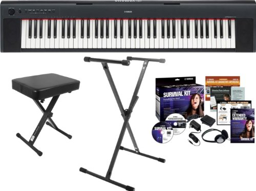 Yamaha NP31 76 Note Digital Piano w/Survival Kit D2, Single X Keyboard Stand, Keyboard Bench