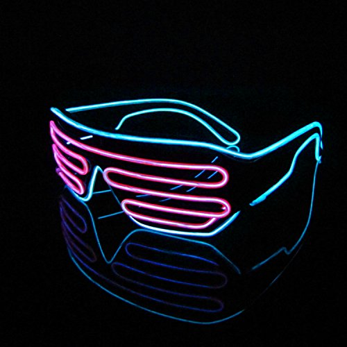 Lerway Black Frame Neon El Wire LED Light Up Shutter Glasses Two Colors+ Voice Controller