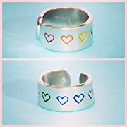 COLORFUL custom text or shape adjustable aluminum metal stamped ring