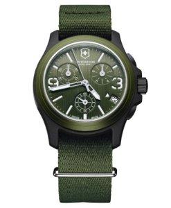 Victorinox Swiss Army Active Original 241531 - Reloj cronógrafo de cuarzo para hombre, correa de tela color verde (cronómetro, agujas luminiscentes)