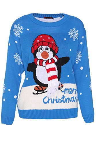 Forever Womens Penguin 3D Scarf Merry Christmas Print boucle Jumper