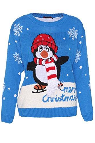 Forever Womens Penguin 3D Scarf Merry Christmas Print boucle Jumper