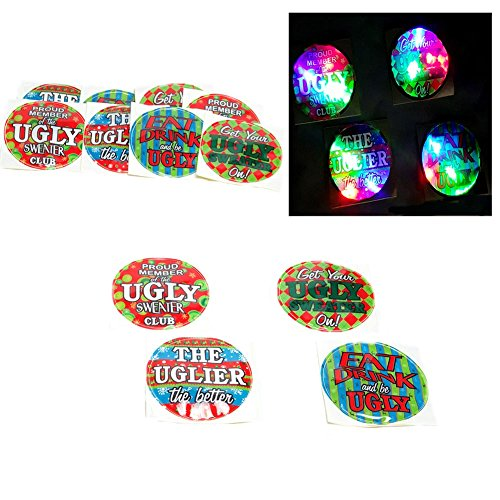 Ugly Christmas Sweater Light Up Badges