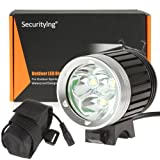 SecurityIng® 3 X CREE XM-L T6 LED 4 Modi 3800Lm Super Hell Scheinwerfer / led Scheinwerfer Stirnlampe Beleuchtung Lampe Licht Lechte und Fahrrad Licht Fahrradlampe Kopflampe, LED Lampe Qualität Super Hell Cree Scheinwerfer Mit Komplett-Set inkl. Batterien und Ladegerät für Cmaping, Wandern, Outdoor Sports
