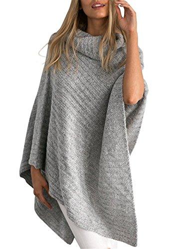 Aidonger Damen Casual Strick Blusen Lose Asymmetrisch Sweater mit Hohe Ausschnitt, Khaki, Grau, 610g