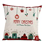 Bluester Vintage Christmas Letter Sofa Bed Home Decoration Festival Pillow Case Cushion Cover