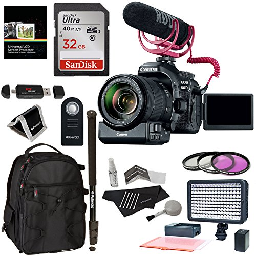 Canon EOS 80D Video Creator Kit with EF-S 18-135mm IS USM Lens, Rode Microphone, Power Zoom Adapter, Scandisk 32GB, LED Light Kit and Accessory Bundle