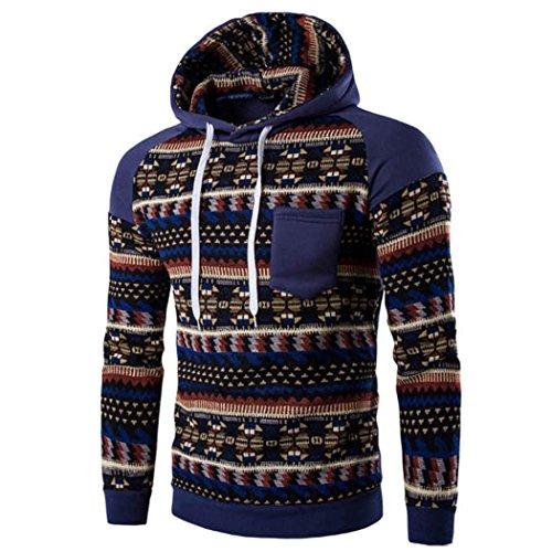 WOCACHI Herren Kapuzenpullover Männer Retro lange Hülse weich und warm Hoodie mit Kapuze Sweatshirt Tops Jacke Coat Outwear