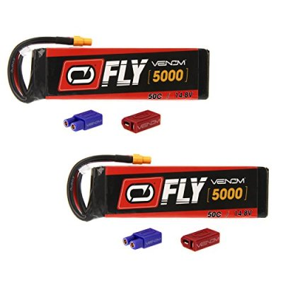 Venom-Fly-50C-4S-5000mAh-148V-LiPo-Battery-with-UNI-20-Plug-XT60DeansEC3-x2-Packs-Compare-to-E-flite-EFLB50004S30