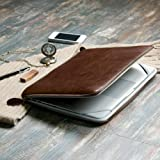 Macbook Pro 13 Sleeve, GMYLE Brown Premium Quality PU Leather With Crazy Horse Pattern Dual Zipper Sleeve Bag Skin Case Cover For Apple Macbook Pro 13-inches