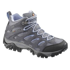 Merrell Women's Moab Mid Waterproof Hiking Boot,Grey/Periwinkle,8.5 M US