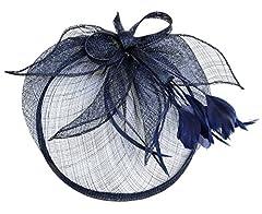 Womens Ladies Elegant Formal Flower Feather Headwear Hair Clip Fascinator (Navy Blue)
