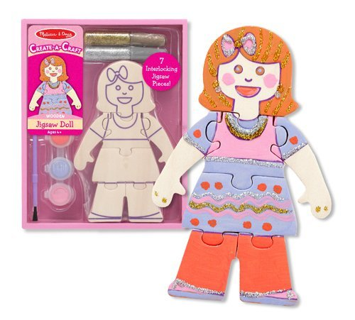 Melissa & Doug Create-A-Craft Wooden Jigsaw Doll Kit