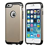 iPhone 6 Case, LUVVITT® ULTRA ARMOR iPhone 6 Case / Best iPhone 6 Case for 4.7 inch Screen Air | Double Layer Shock Absorbing Gold iPhone 6 Case Cover (Does NOT fit iPhone 5 5S 5C 4 4s or iPhone 6 Plus 5.5 inch screen) - Black / Metallic Champagne Gold