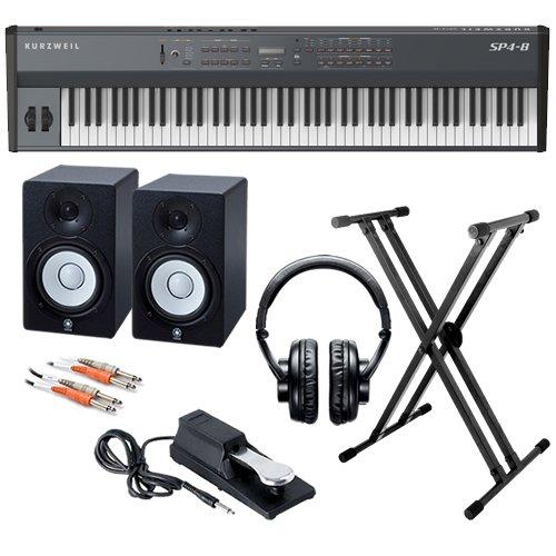 Kurzweil SP4-8 Stage Piano STUDIO BUNDLE w/ Monitor Speakers & Stand