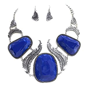 "Chunky Feather Statement Necklace Set; 18""L; Burnished Silver Metal; Blue Marble Gemstones; Lobster Clasp Closure; Matching Earrings Included"
