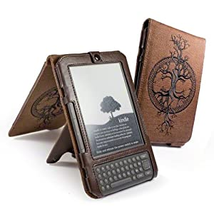 Eco-nique natural Hemp Brown case cover (flip style) for Amazon Kindle 3 / Global Wireless 6 inch / 15 cm (latest generation) - Tree of Life