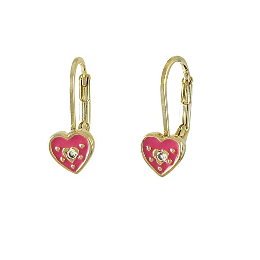 Gold Finish Hot Pink Enamel Heart with Crystal Baby Kids Girls Teens Leverback Earrings