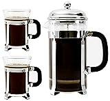 Bruntmor, Premium 34 Oz French Press set 2 mugs 7oz Double Filter Borosilicate Heat Resistant Glass