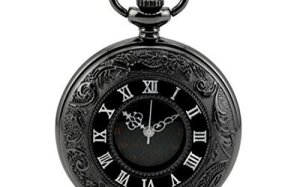 WZC Antique Black Double Display Quartz Movement Roman Numerals Pocket Watch