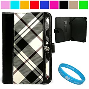 Executive Melrose Leather Protective Case Cover for Barnes and Noble Nook Color Wireless Reading Device Wi-Fi 7 inch LCD Display Screen + SumacLife TM Wisdom Courage Wristband, White / Black Plaid