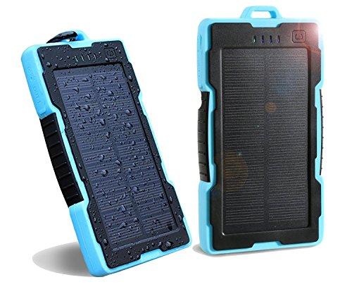NexGadget ソーラーチャージャー 13000mAh 超大容量モバイルバッテリー旅行・ハイキング・災害時に活躍 青色