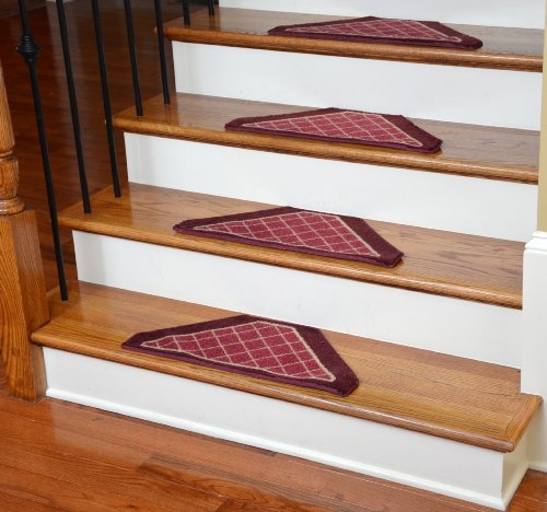 Washable Non Skid Carpet Stair Treads Burgundy Checkerboard 13   Non Slip Carpet For Stairs   Trim   Laminate   Wood End Cap   Step   Rubberized
