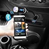 iKross Multifunction LED Car FM Radio Stereo Transmitter with Bluetooth Handsfree calling and charging port for SmartPhone, iPhone, Tablets and more