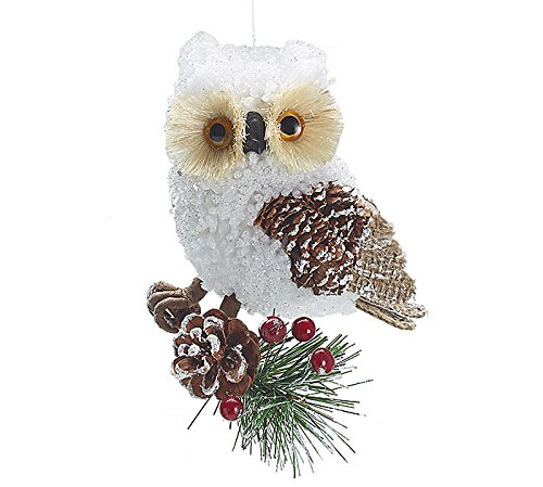 Country Rustic White Owl Christmas Ornament