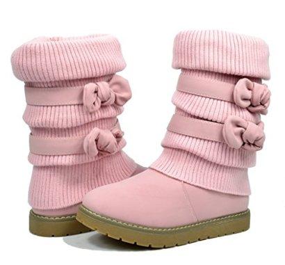 Dream-Pairs-KLOVE-Girls-Knit-Sweater-Winter-Fur-Kids-Boots-Pink-Size-8