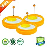 "Silivo 3.8"" Silicone Egg Ring Nonstick Round Cooking Mold for Pancake Omelets and More -Orange (3-pack)"