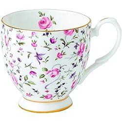 "Royal Albert 0,3 litro de porcelana fina Tea Party ""confeti rosa"" Vintage taza con base, blanco"