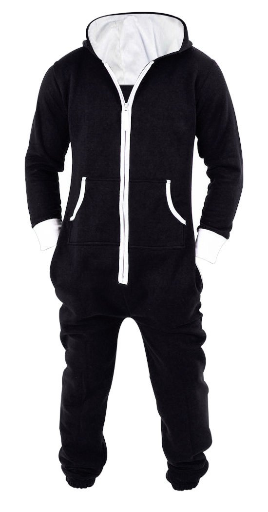 Men's Unisex Black Onesie Jumpsuit One Piece Non Footed Pajama Playsuit