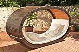 ovale Sonnenliege mit Dach aus Polyrattan