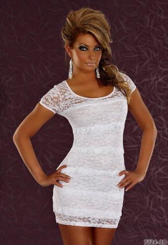 Designer Stretch-Minikleid Kleid aus Spitze in Weiß Gr.34
