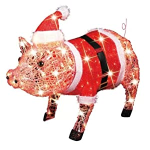 Trim a Home 30in Lighted Christmas Crystal Pig in Santa Coat
