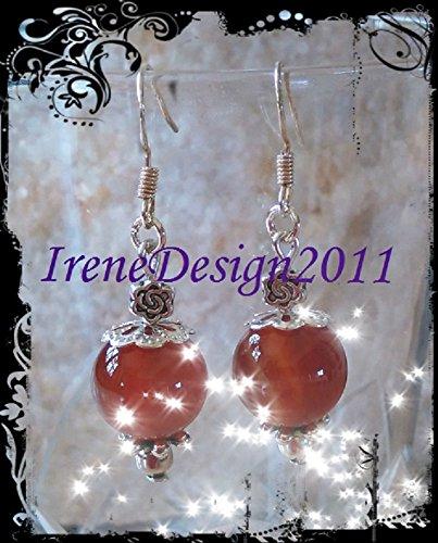 Carnelian & Rose Earrings